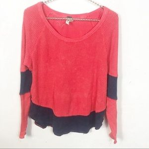 Free People l We The Free Pink Waffle Knit Thermal